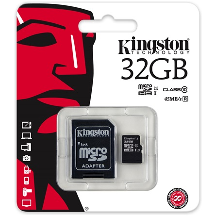 32Gb Micro SDHC Kingston + 1 adapter, Class10 UHS-I