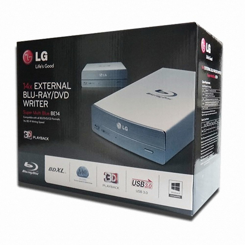 Blu-Ray író LG USB3 BE14NU40 3D Silver BOX