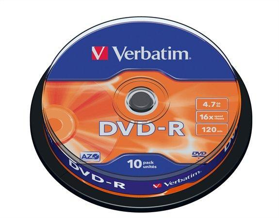 DVD-R Verbatim 16x írható, 4.7Gb Cakebox (10db/henger)